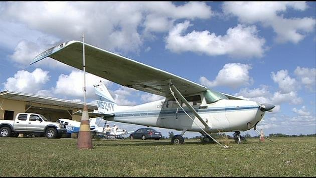 A small plane at Opa-locka Airport