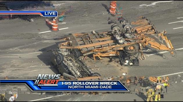 The scene of the rollover crash northbound on I-95.