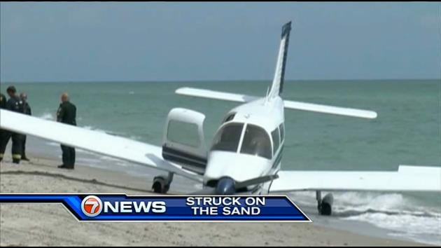 The scene of the plane crash near Venice Beach, Fla.