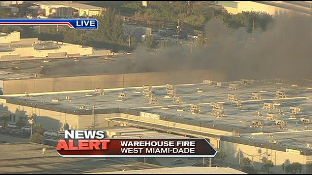 Fire engulfs cargo warehouse